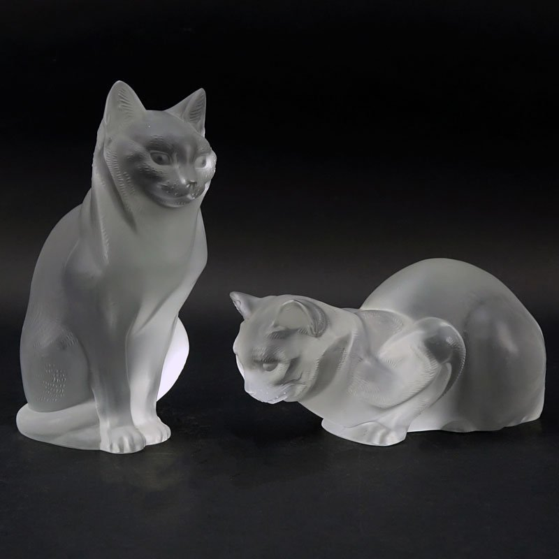 Two Lalique Crystal Cats. One crouching, one sitting