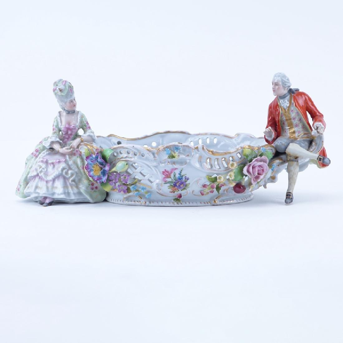 Vintage Dresden Porcelain Figural Centerpiece. Signed.