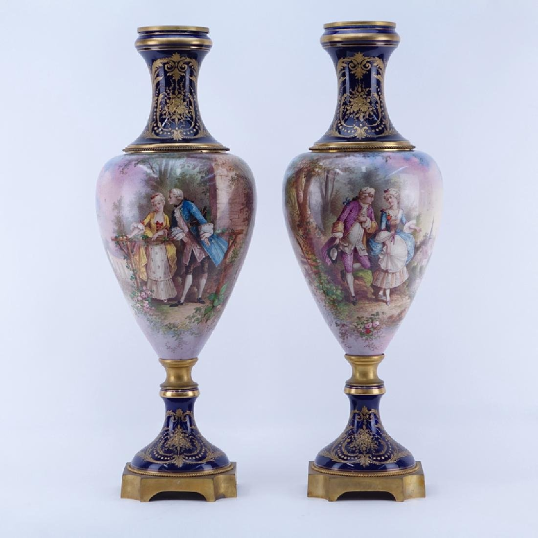 Pair of 19/20th Century Sevres Cobalt and Gilt Scroll