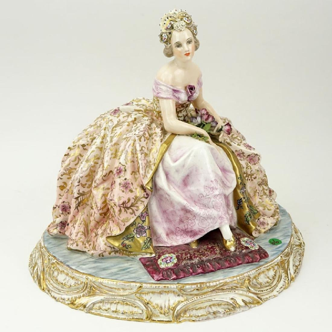 Large Antique Capodimonte Hand painted Seated Dignified