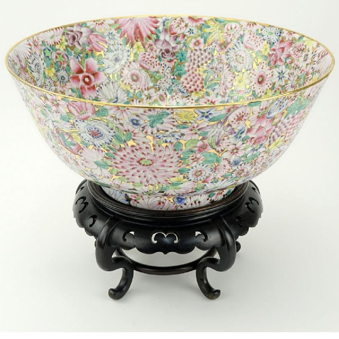 Very Large Chinese Porcelain Bowl On Stand. Decorated
