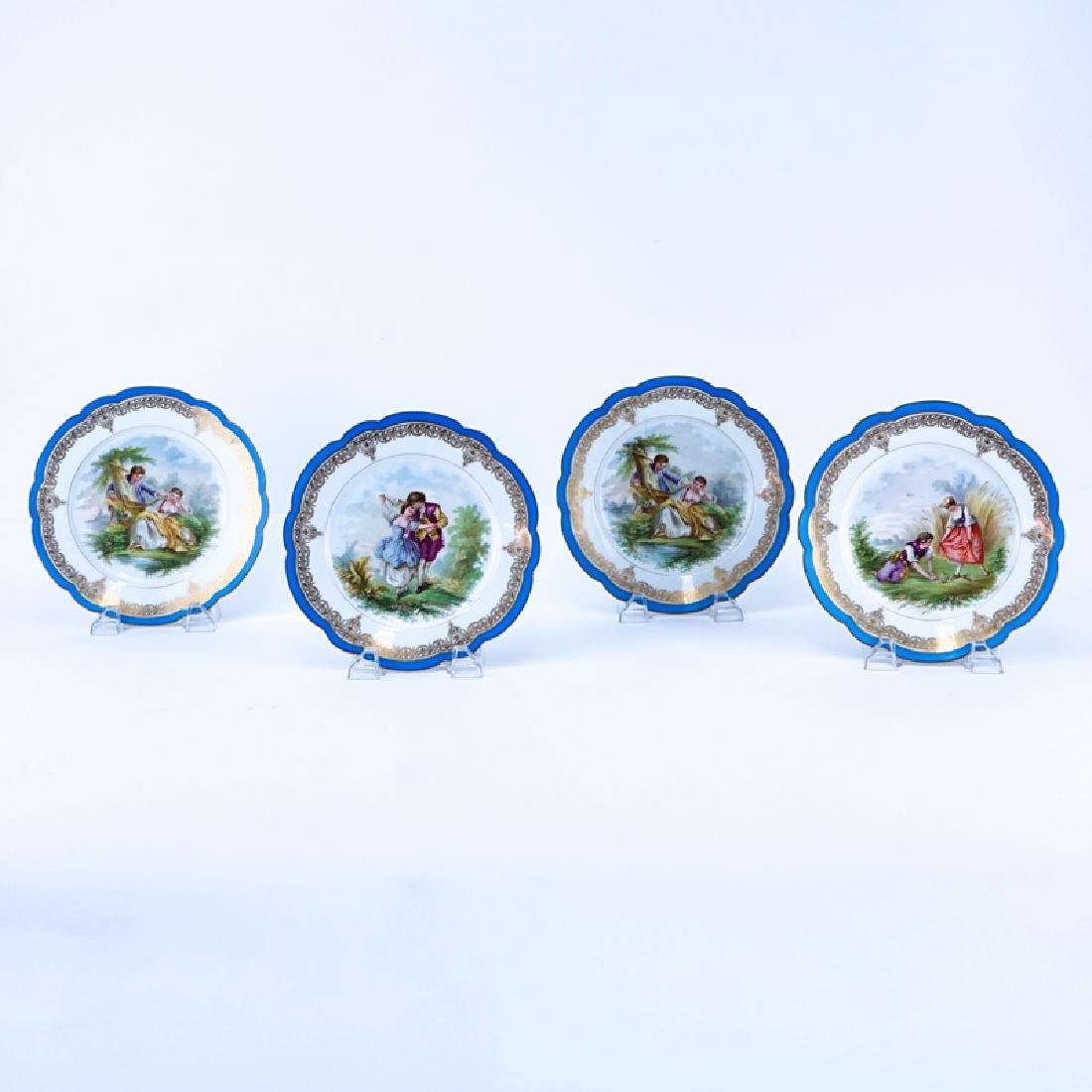 Set of Four (4) Fine 19th Century Sevres Chateau Des