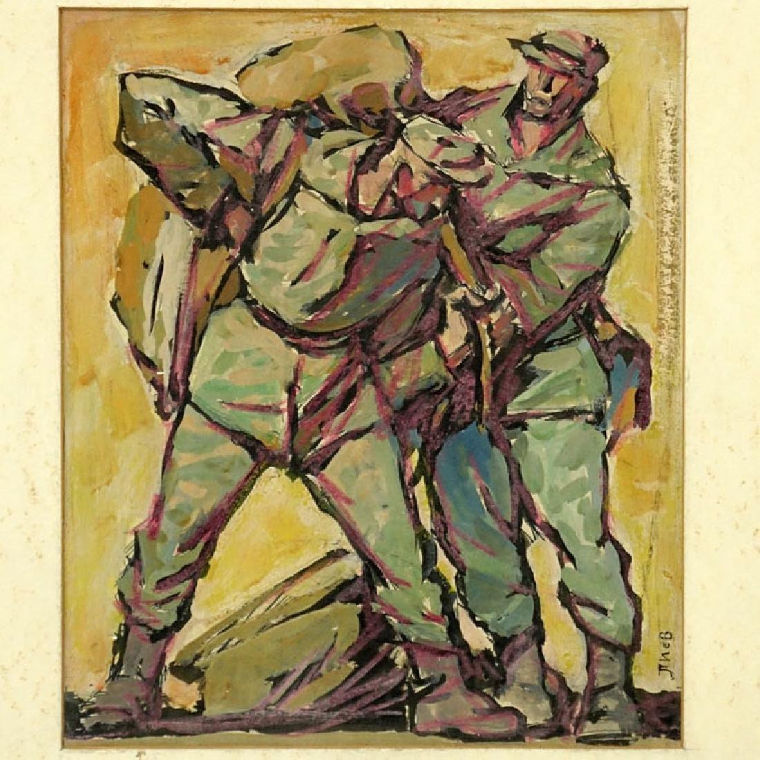 "Russian Soviet Realist School Gouache On Card ""Stone"