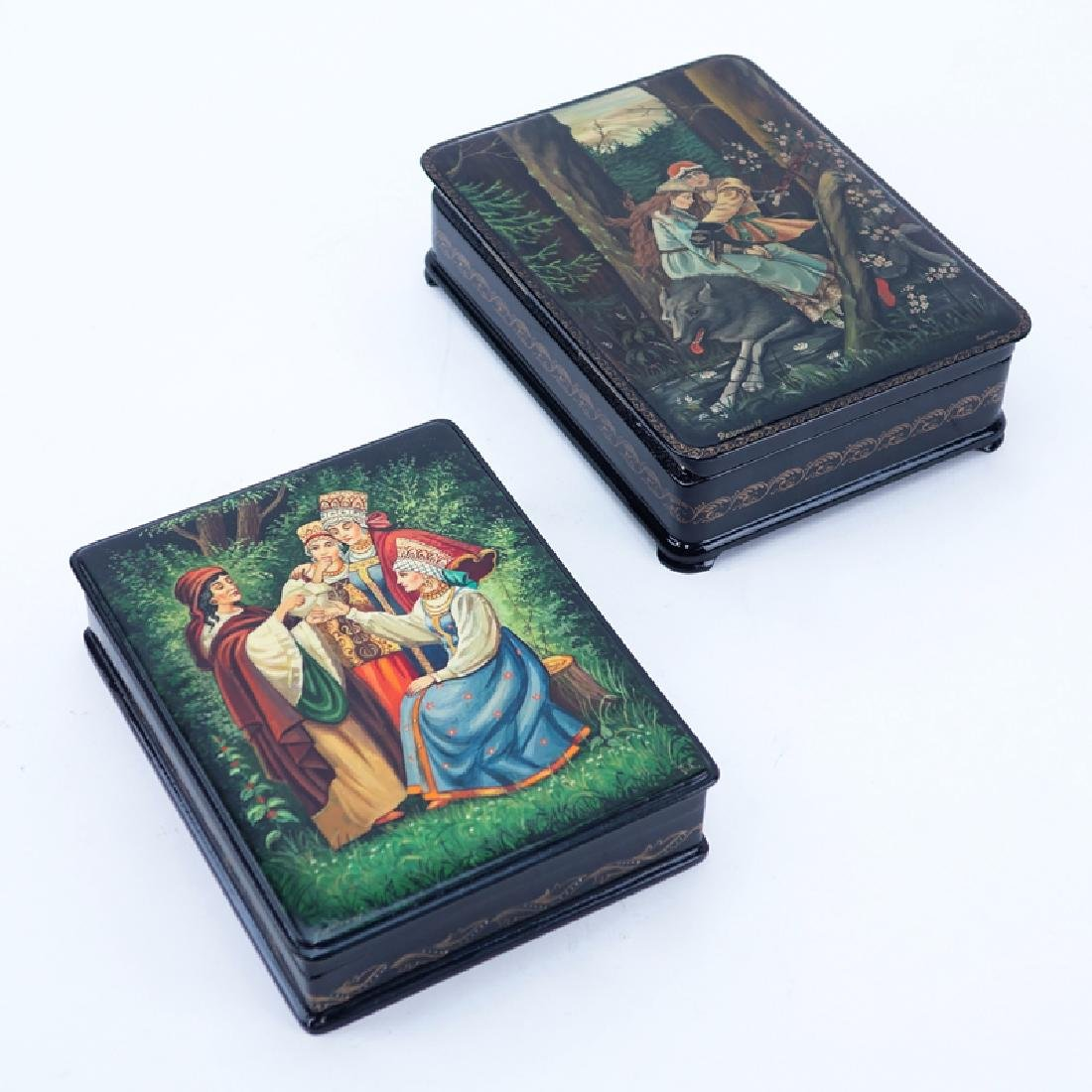 Two (2) Vintage Russian Black Lacquer Hinged Paper