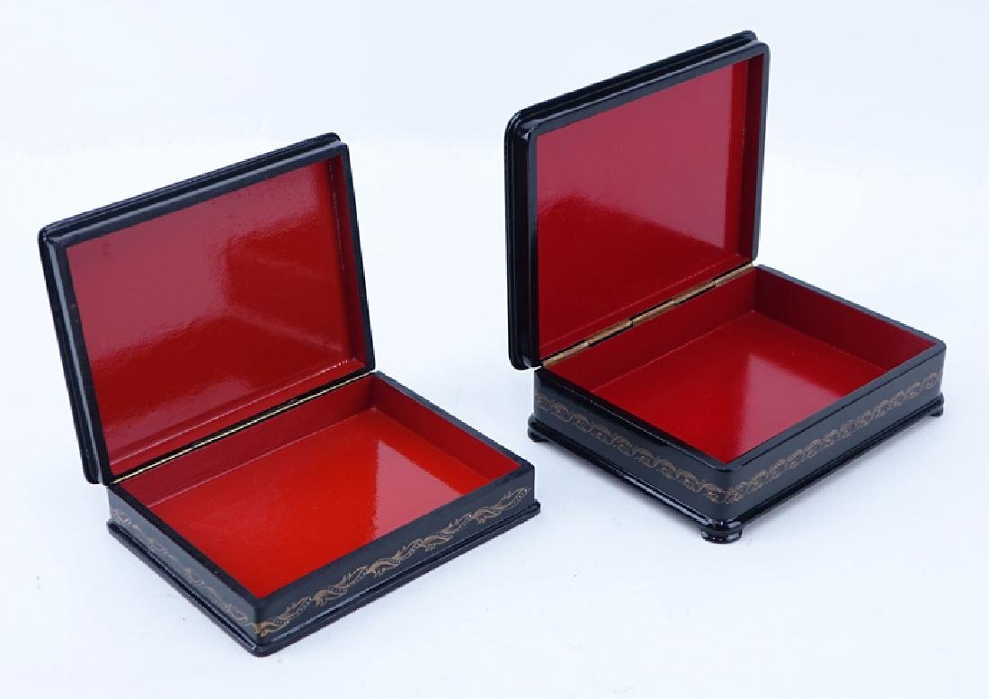 Two (2) Vintage Russian Black Lacquer Hinged Paper - 2