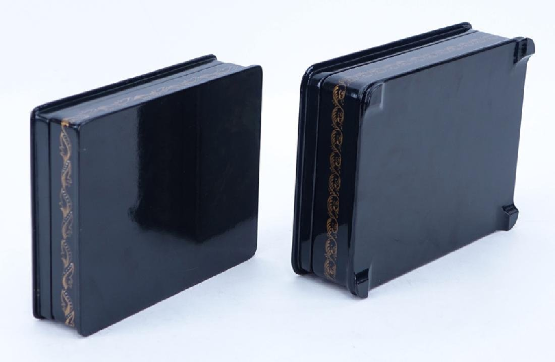 Two (2) Vintage Russian Black Lacquer Hinged Paper - 3