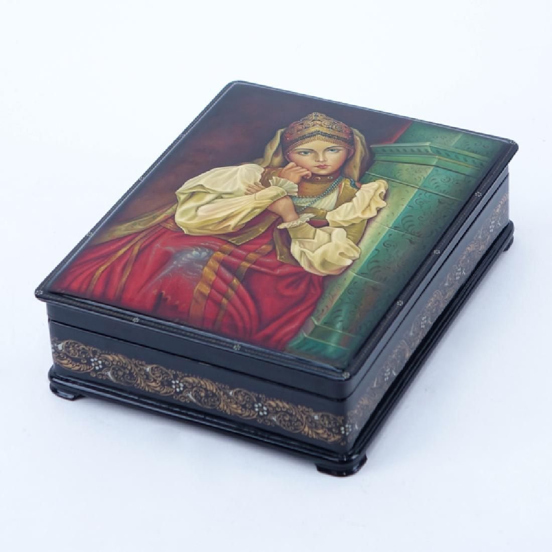 Vintage Russian Black Lacquer Hinged Paper Mache Box
