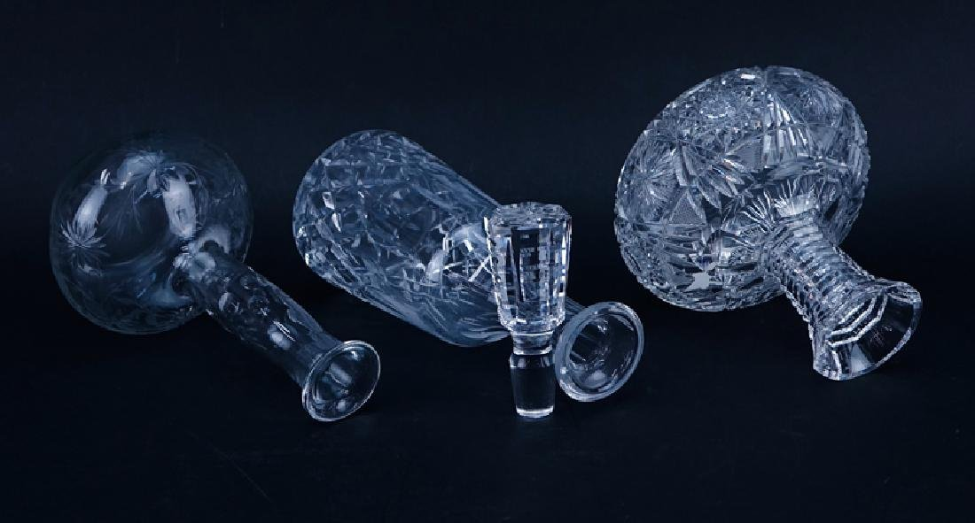 Lot of Three (3) Crystal Decanters. Includes a - 2