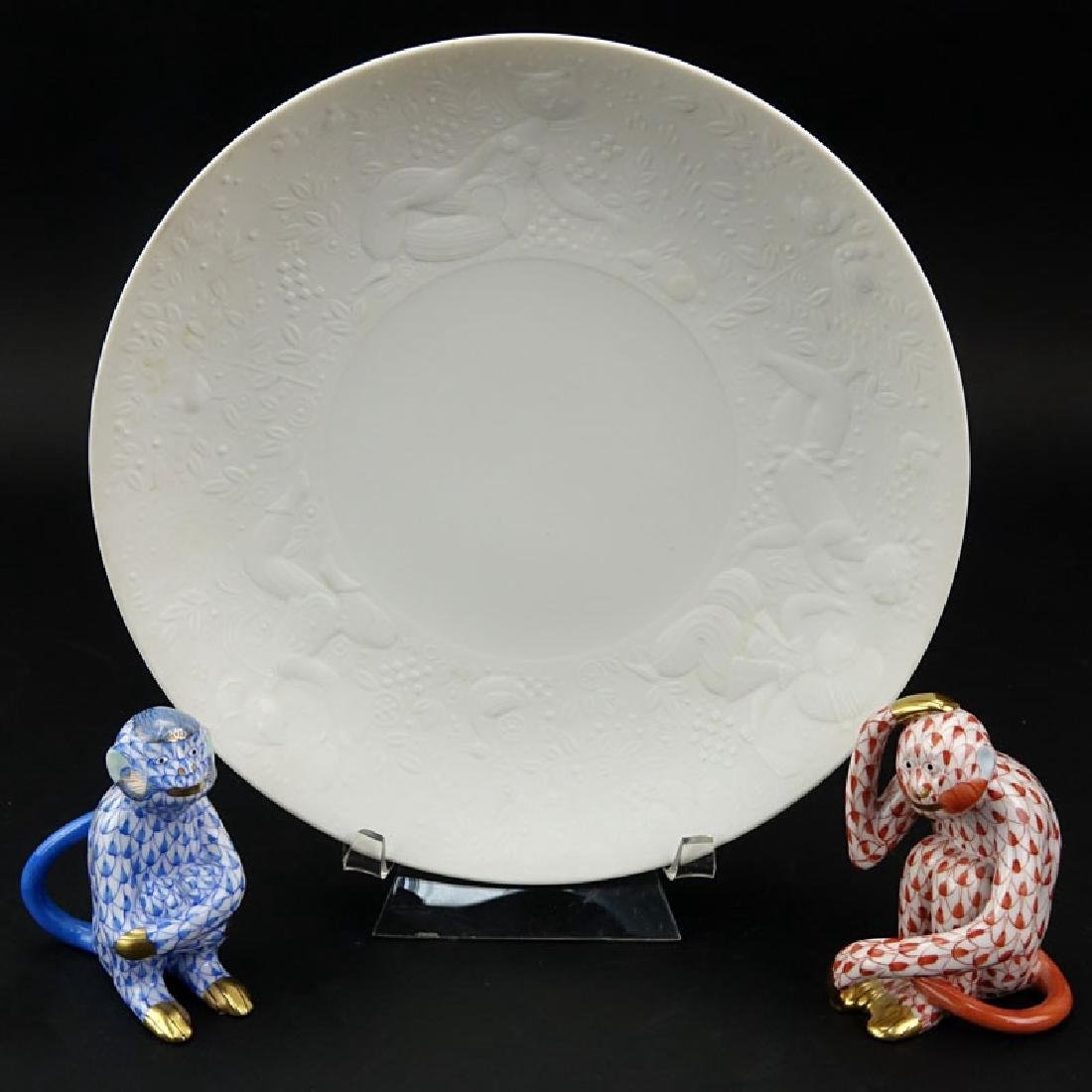 Two Herend Porcelain Fishnet Monkey Figures and a