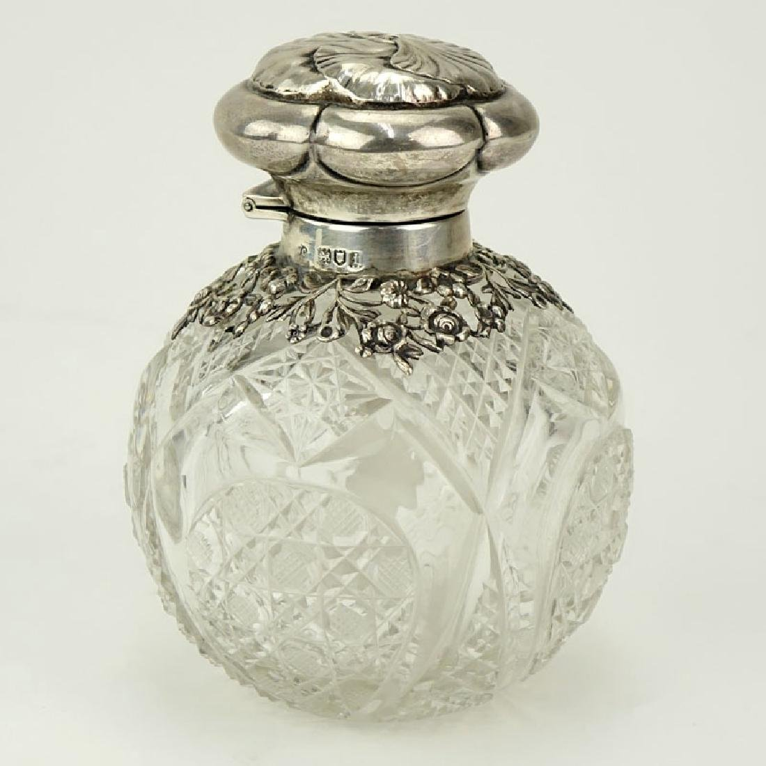 English Silver Mounted Cut Glass Scent Bottle. Signed - 2