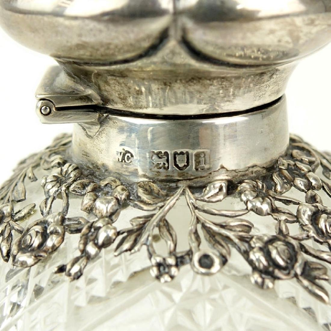 English Silver Mounted Cut Glass Scent Bottle. Signed - 3