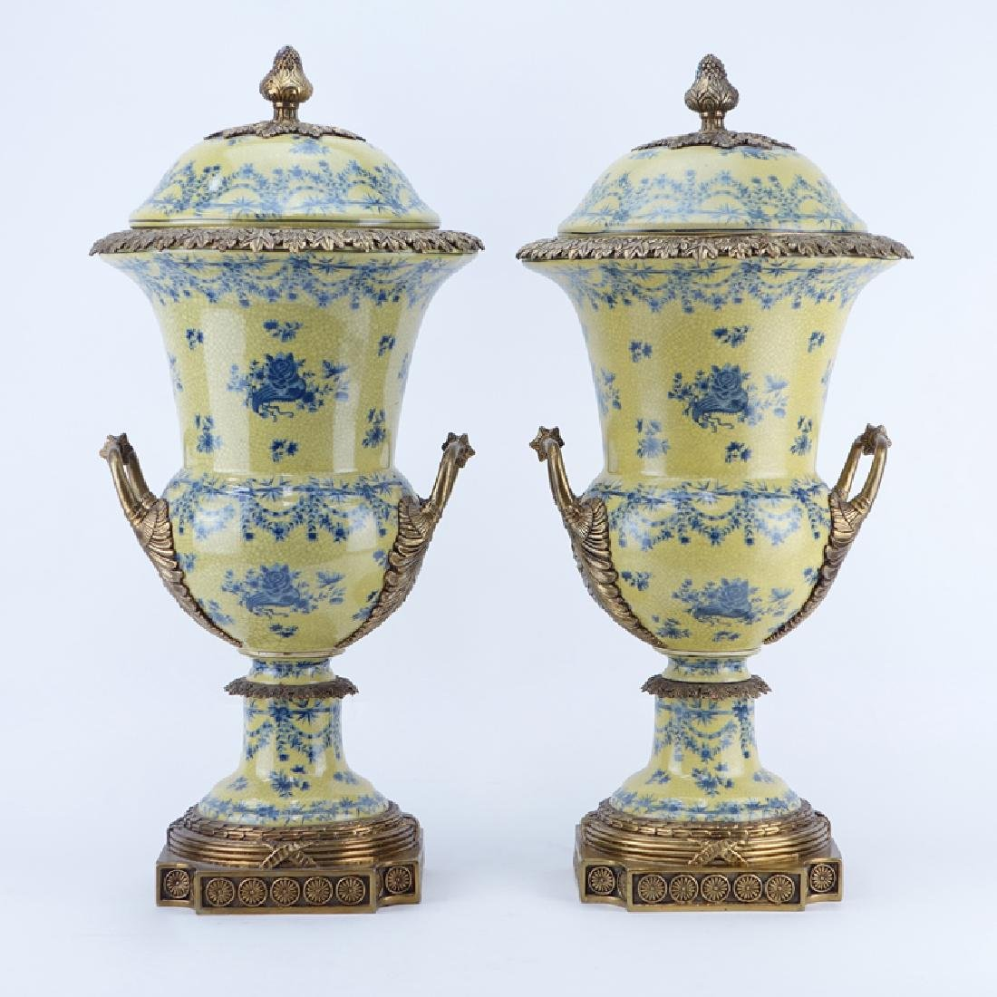 Pair of Modern French Style Gilt Brass Mounted and
