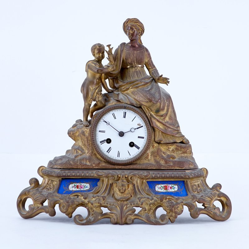 Antique French Gilt Bronze Figural Clock With Porcelain