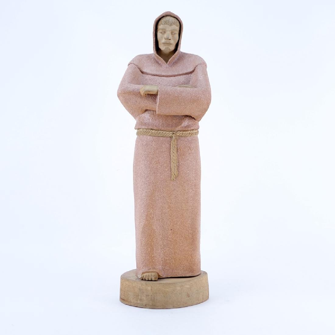 Large Vintage Pottery Figurine of a Standing Monk on