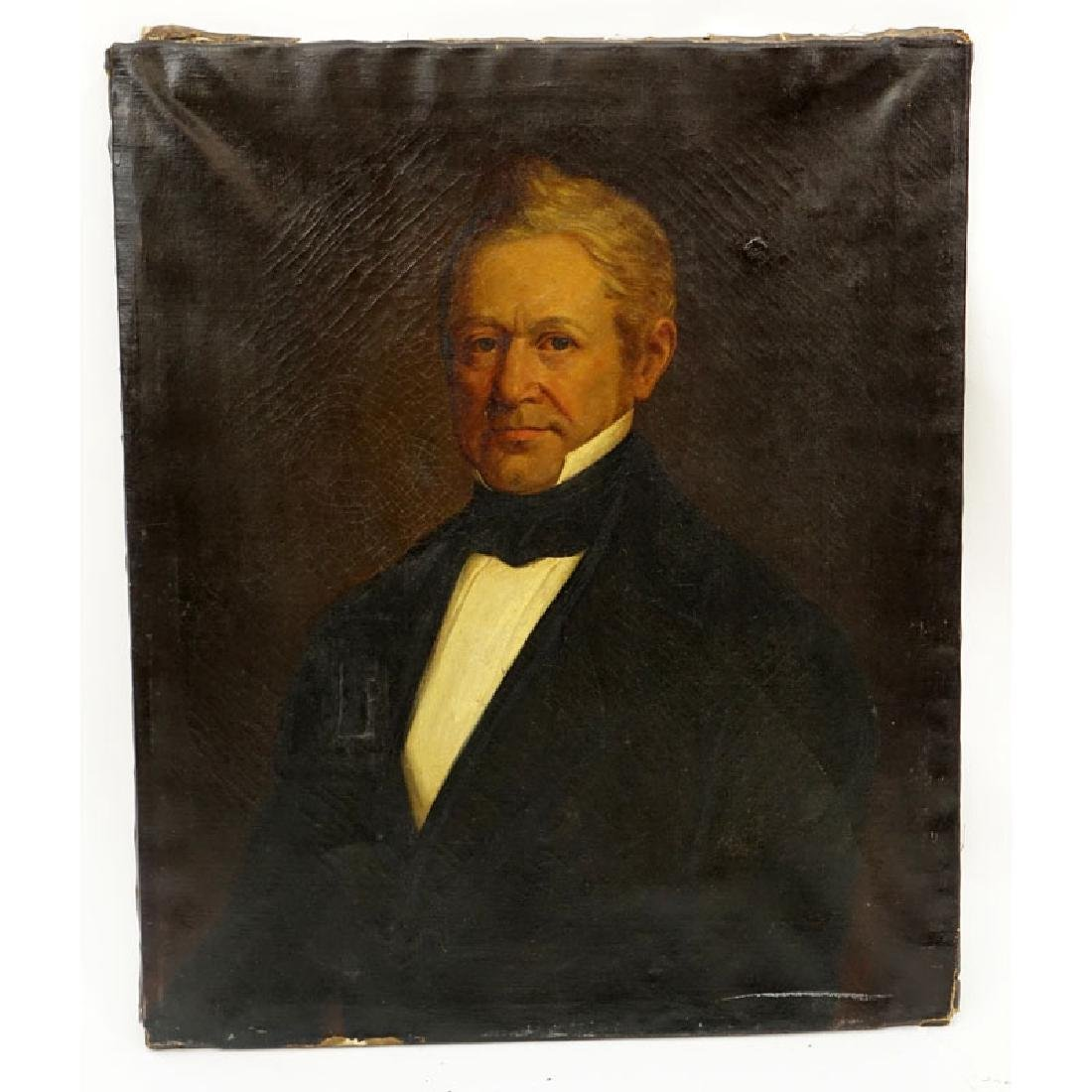Circa 1860 American Oil on Canvas, Portrait of a