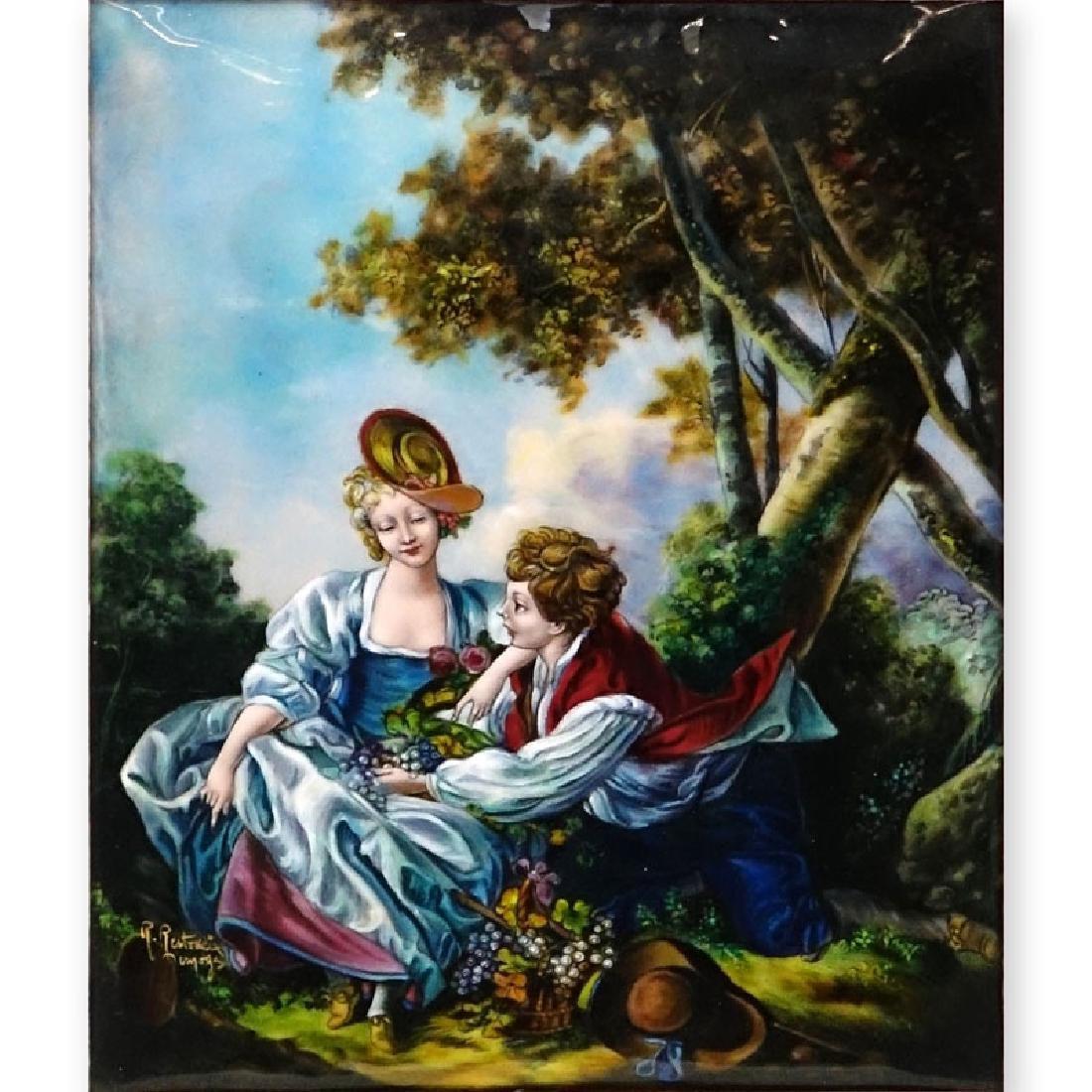 """Limoges Enamel Painting On Copper """"L'Automne (d'apres"""