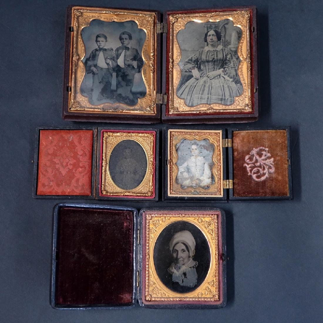 Lot of Five (5) 19th Century Cased Daguerreotypes. One