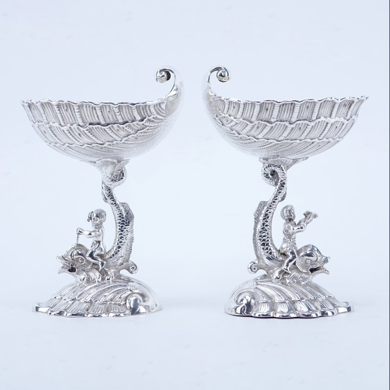 Pair of Antique German 800 Silver Figural Compotes.