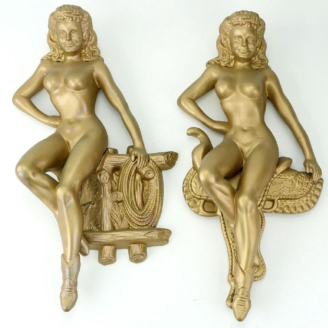 Pair Mid-Century Metal Pin-Up Nude Cowgirl Hanging