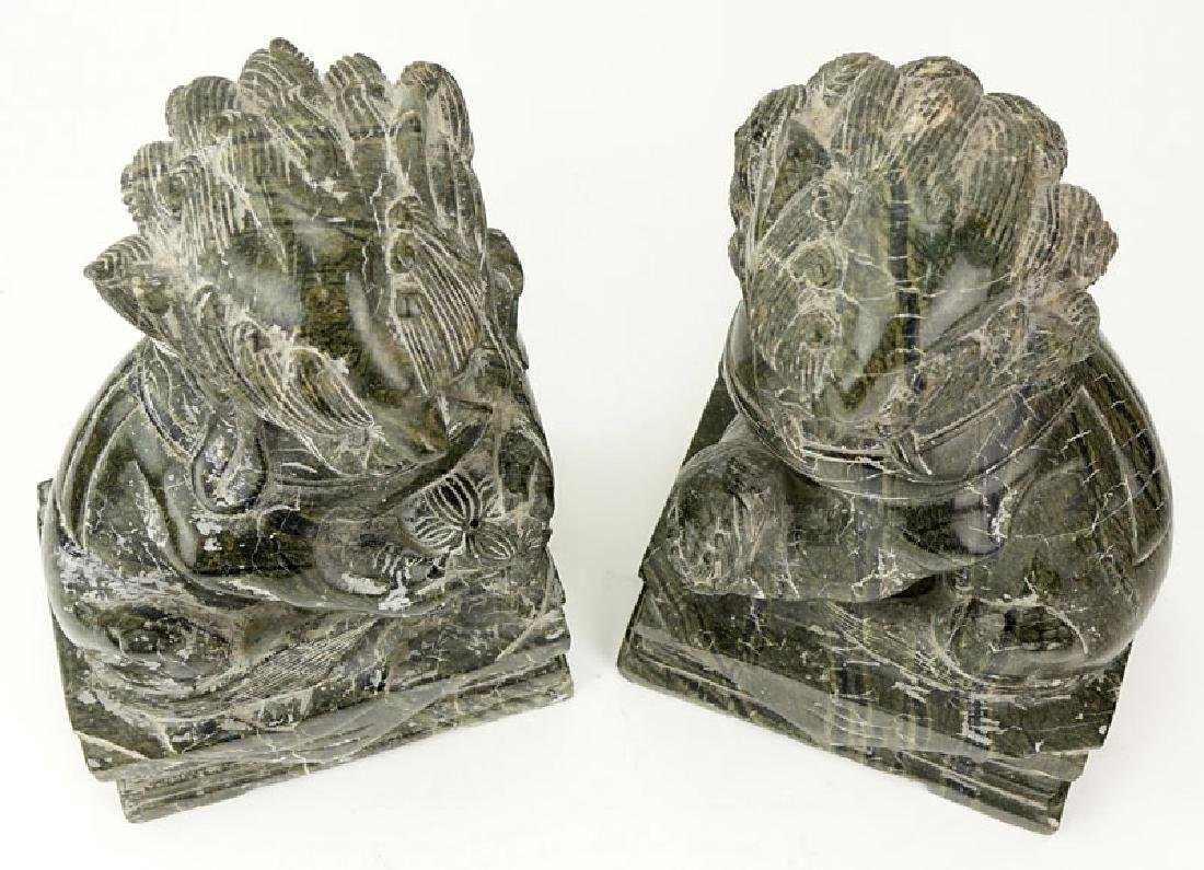 Pair Of 20th Century Chinese Carved Marble Foo Dogs. - 2
