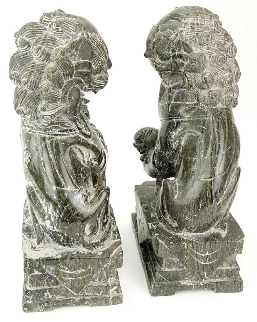 Pair Of 20th Century Chinese Carved Marble Foo Dogs. - 3