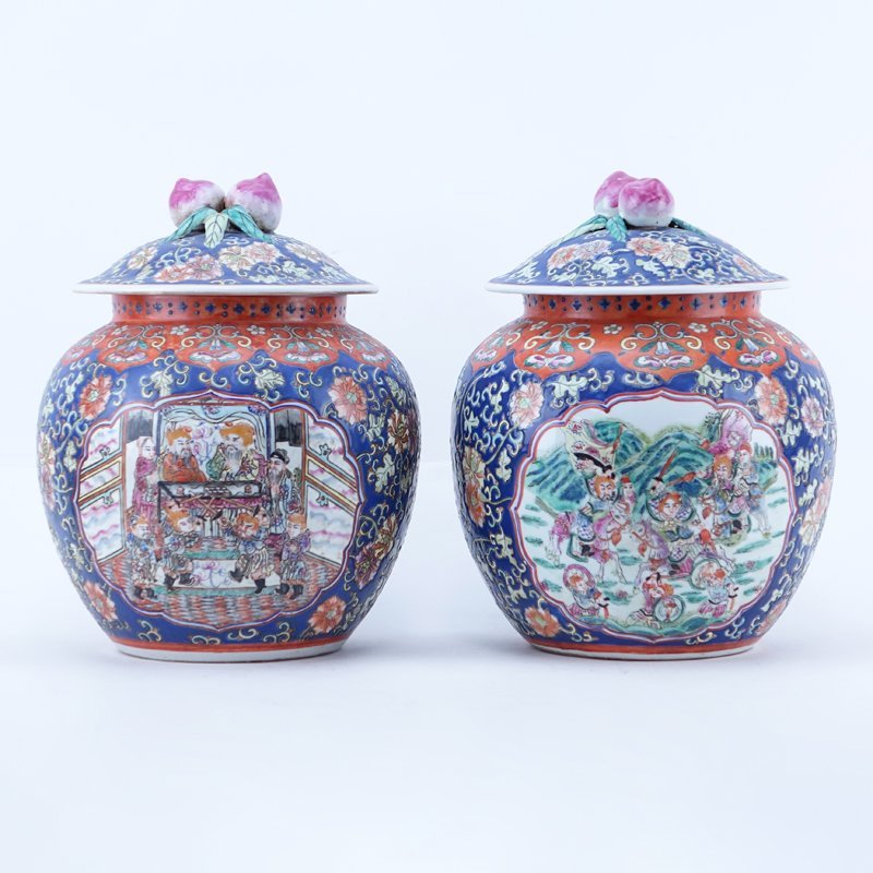 Pair 20th Century Chinese Porcelain Lidded Urns. Floral