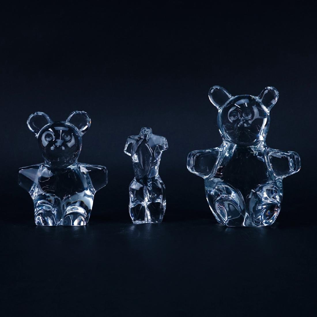 Two (2) Daum Crystal Bear Figurines and a Daum Nude