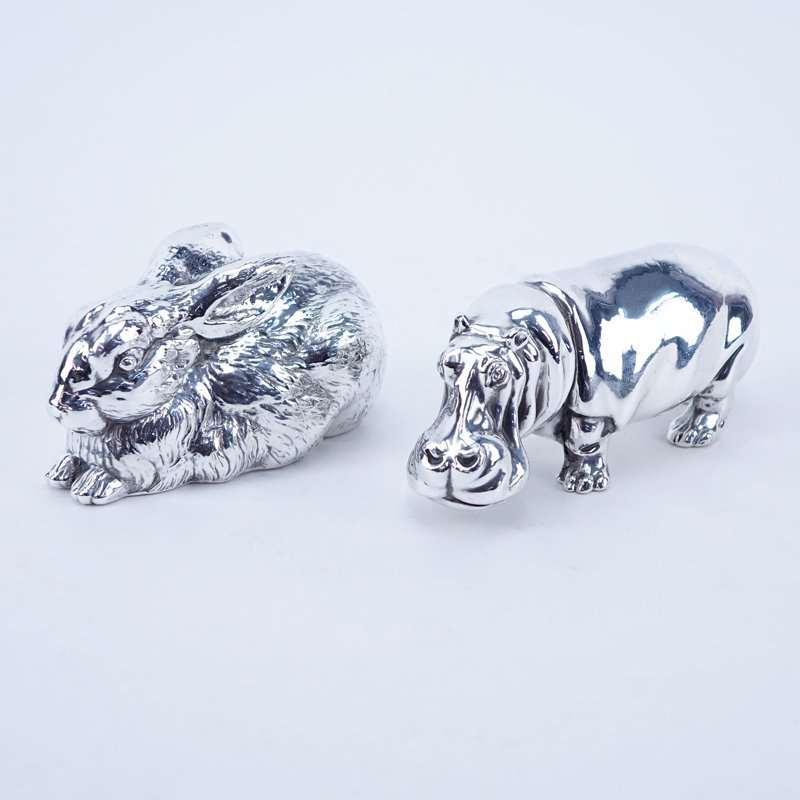 Two (2) Silver Clad Animal Figures. Includes rabbit and