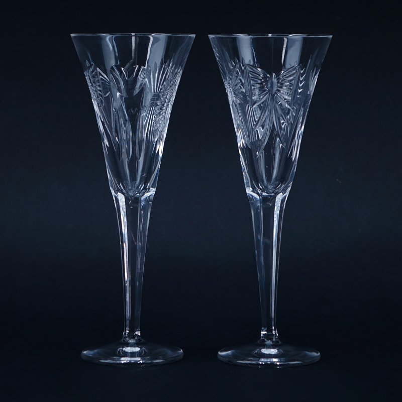 "Pair Waterford Cut Crystal Toasting Flutes ""Millennium"