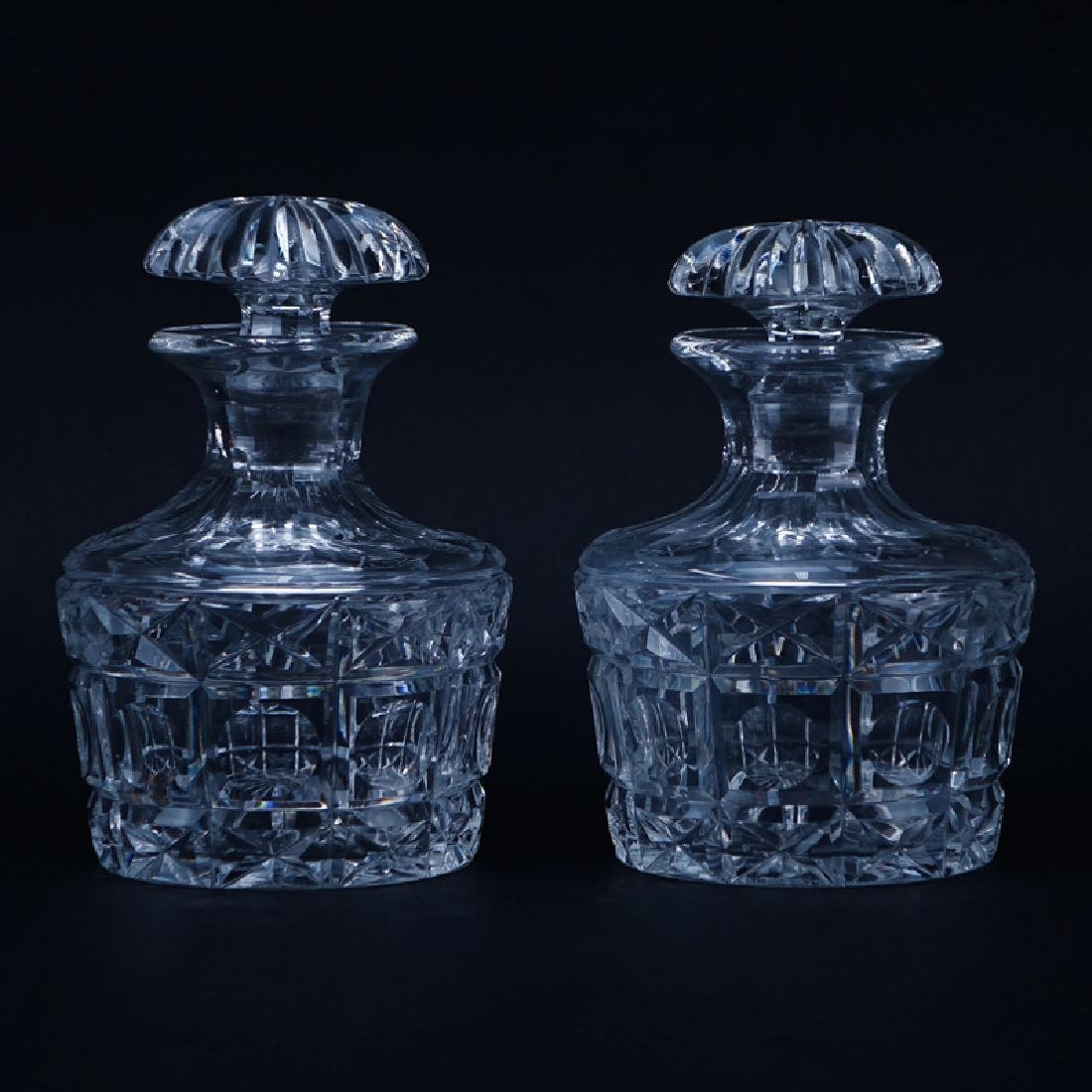 Two (2) Cut Crystal Decanters. Unsigned. Good