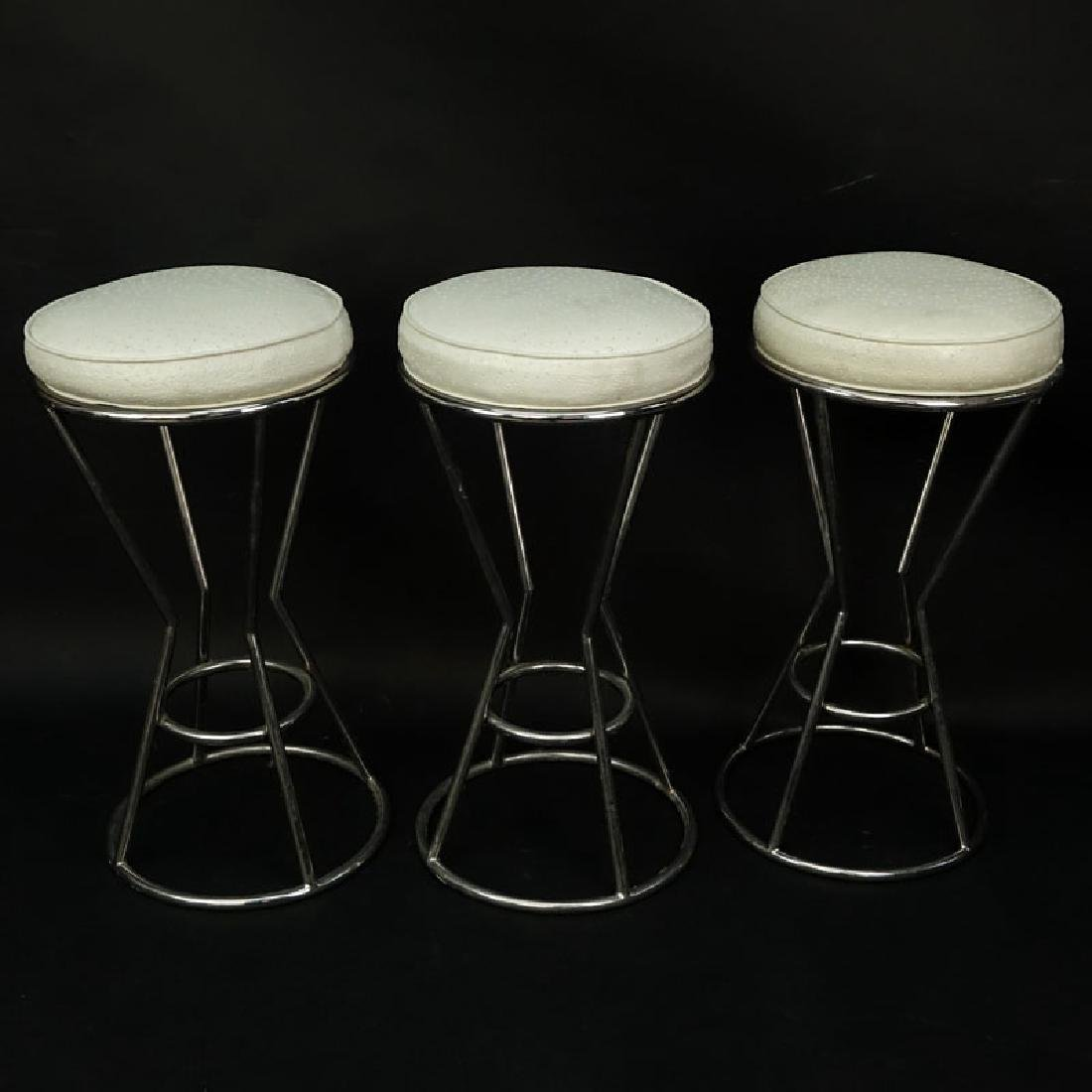 Set of Three (3) Modern Chrome and Faux Ostrich
