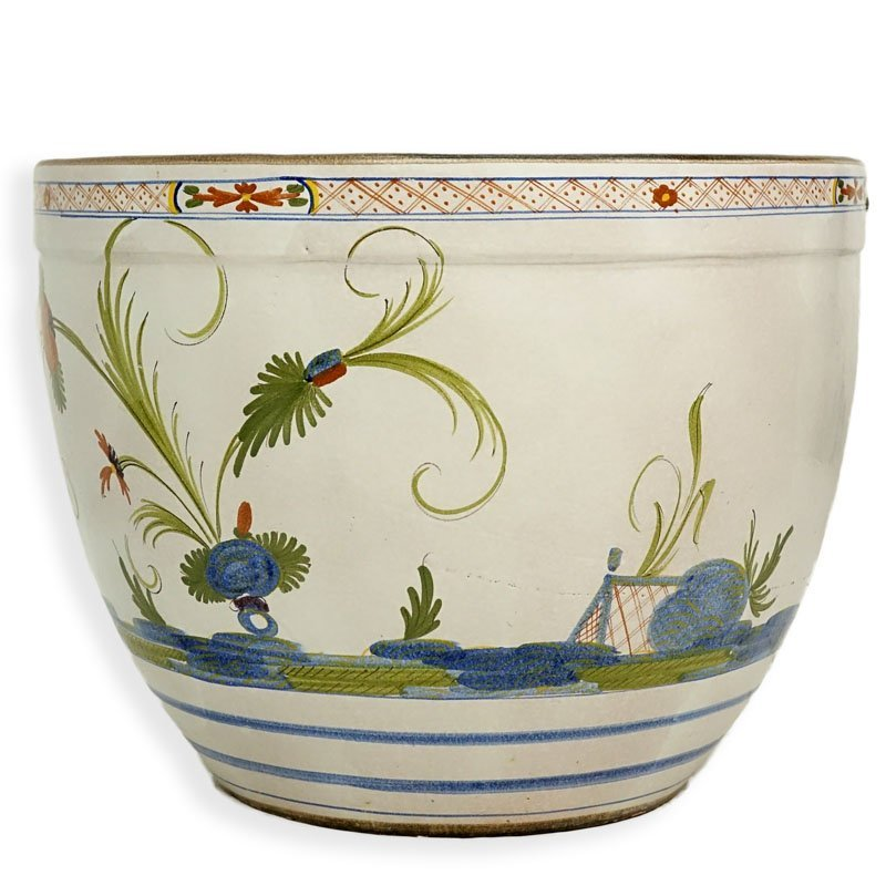Large Italian Style Faience Ceramic Planter. Typical