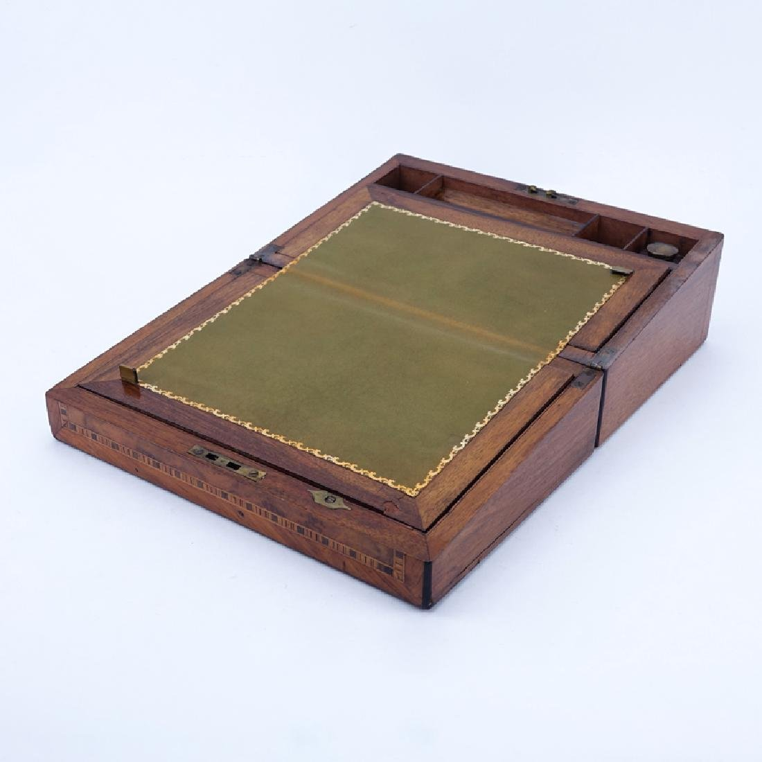 Antique English Writing Box. This box features burled