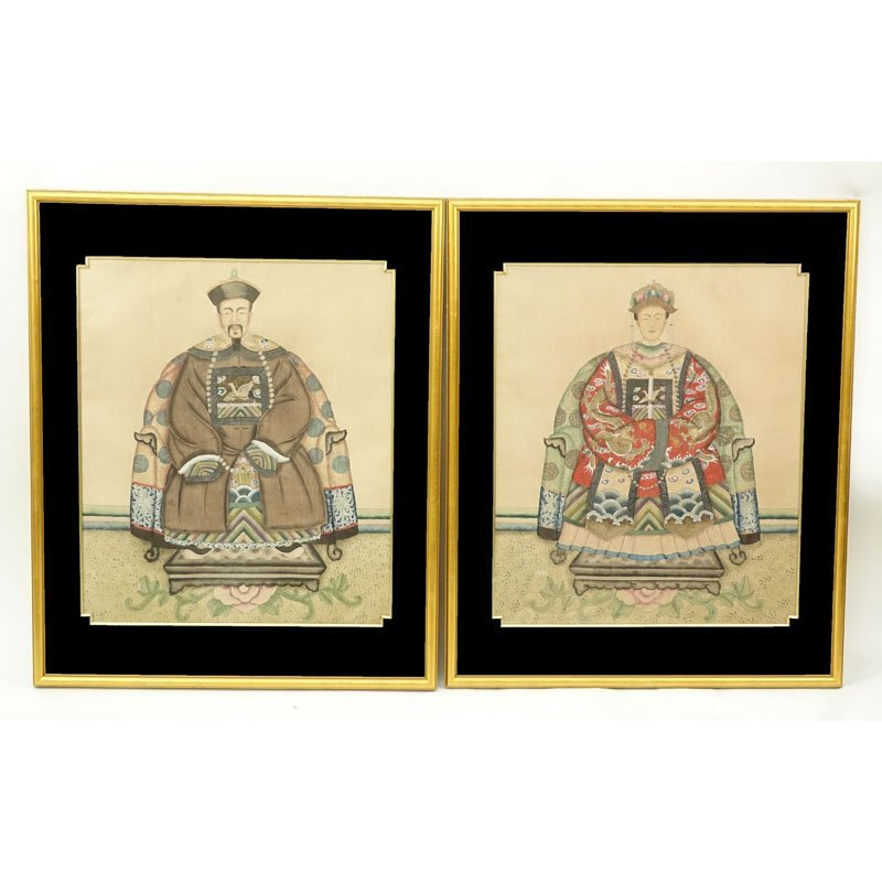 "Pair Chinese Watercolors On Silk ""Emperor & Empress""."