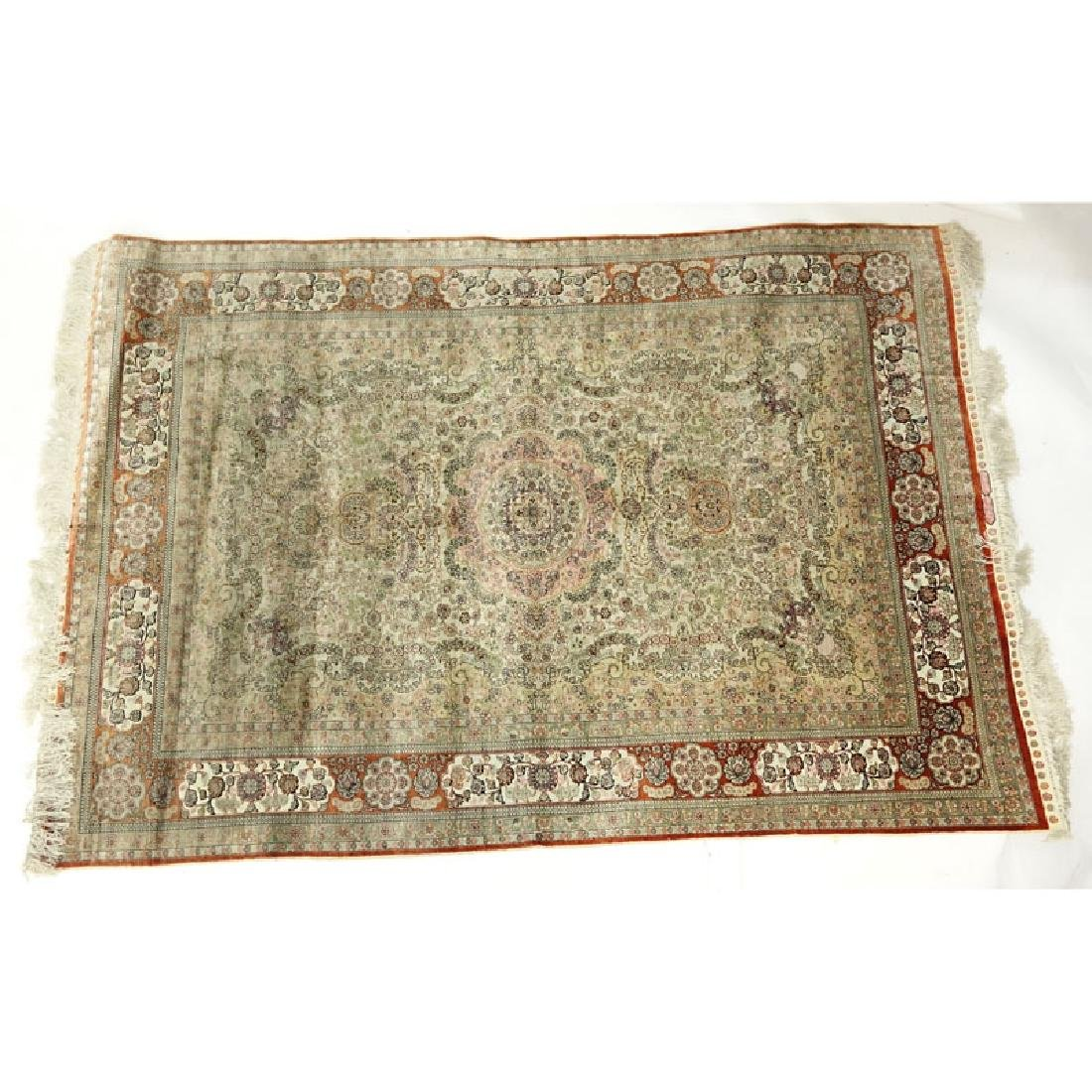 Semi Antique Persian Style Silk Rug. Signed. Wear