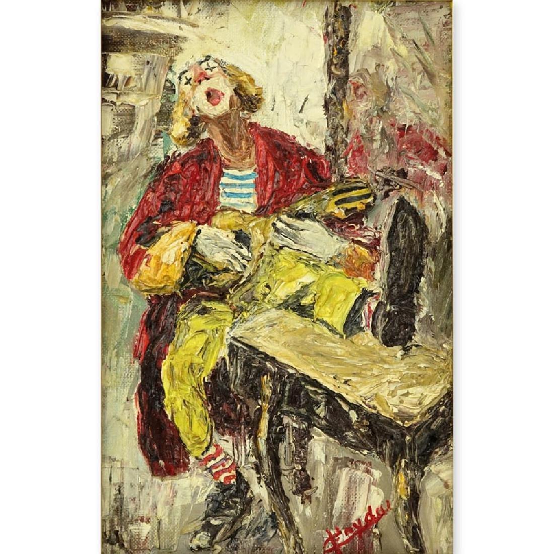 """Giuseppe Fryda (20th C) Oil on canvas """"Clown"""". Signed"""