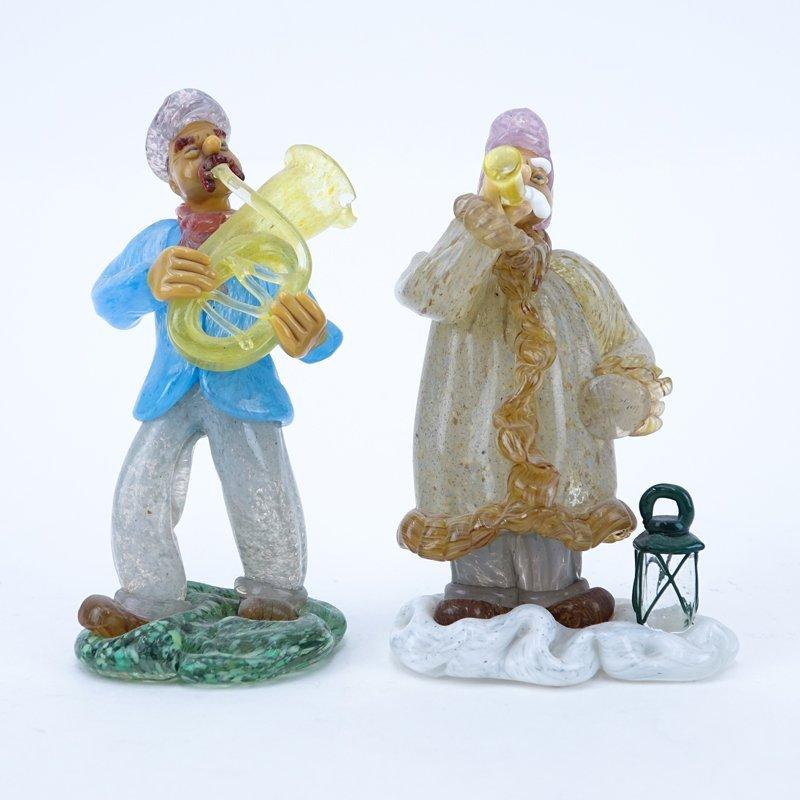 Two (2) Czechoslovakian hand blown art glass musician
