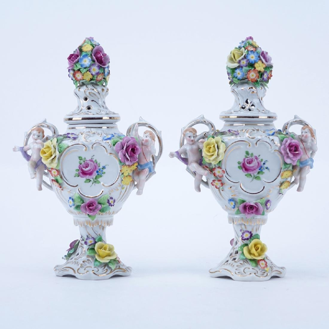 Pair Vintage Miniature Schierholz Porcelain Cherub