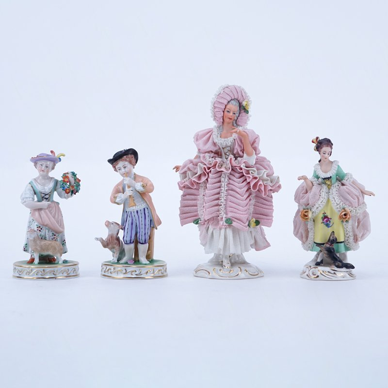 Four (4) Vintage Dresden Figurines. Includes 2 Dresden