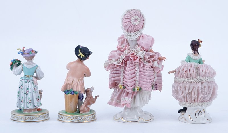 Four (4) Vintage Dresden Figurines. Includes 2 Dresden - 2
