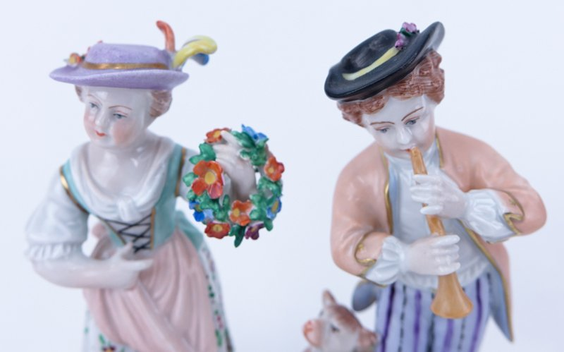 Four (4) Vintage Dresden Figurines. Includes 2 Dresden - 3