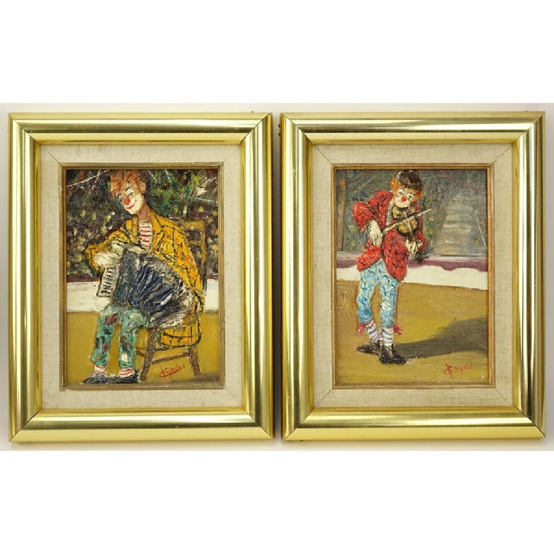 """Giuseppe Fryda (20th C) 2 Oil on canvas """"Clowns""""."""