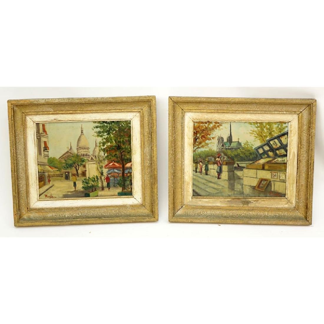 "Two (2) 20th Century Oil on Canvas ""Street Scenes"""