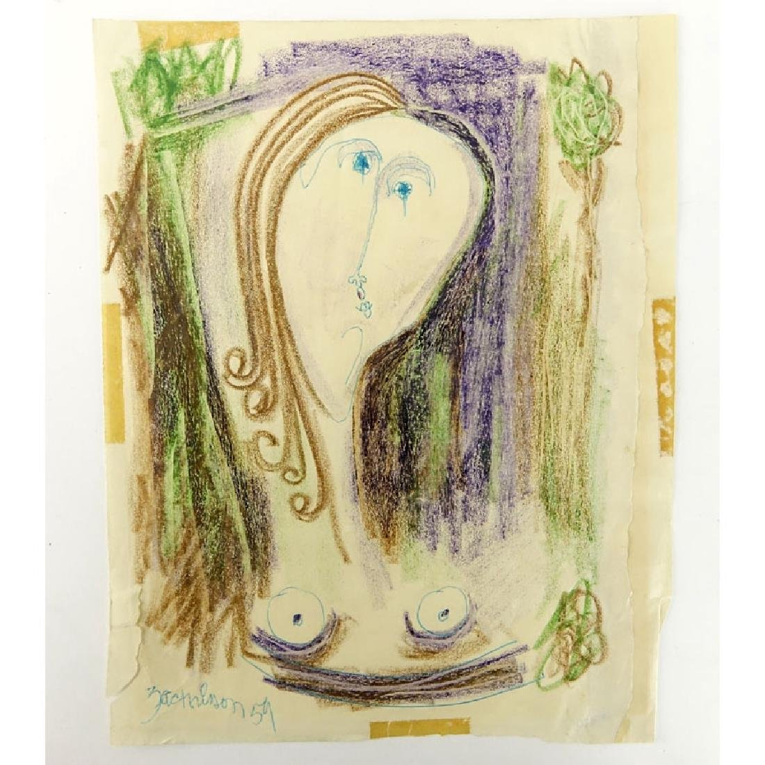 Mid-Century Crayon & Ink Drawing. Signed Zachinson '59.