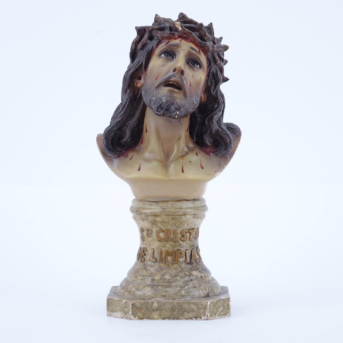 Vintage Terracotta Bust Of Jesus. Marked  El Arte