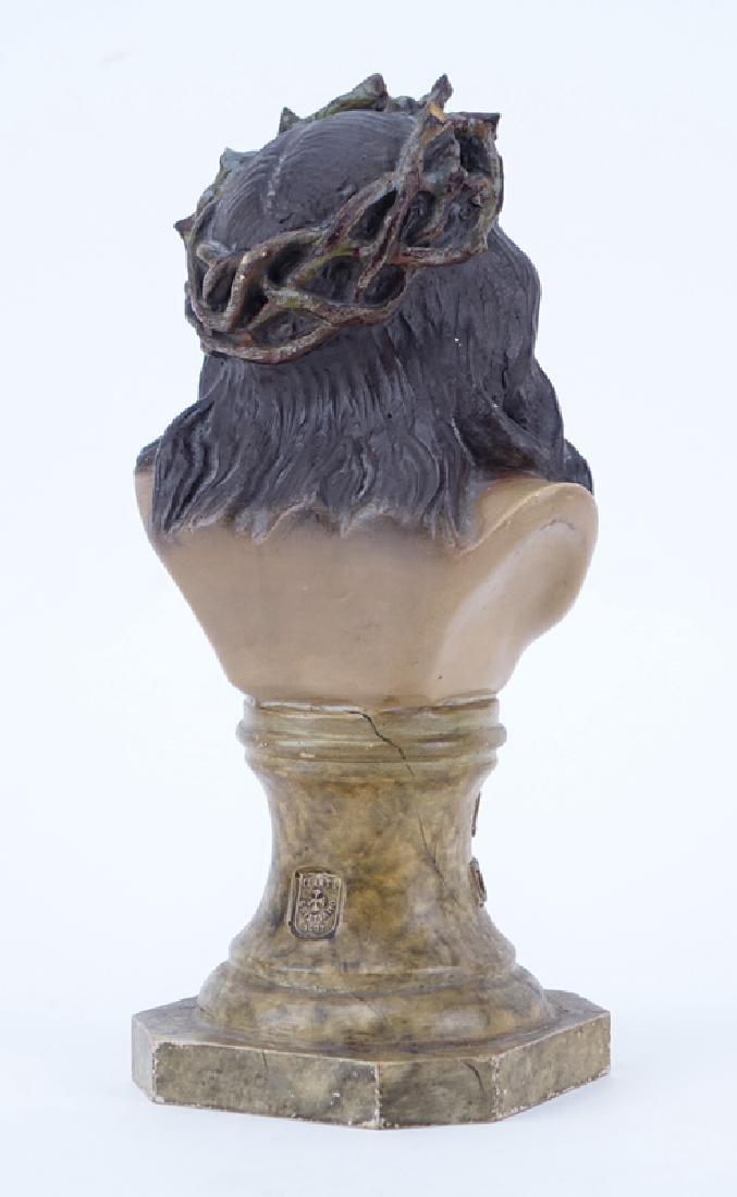 Vintage Terracotta Bust Of Jesus. Marked  El Arte - 2