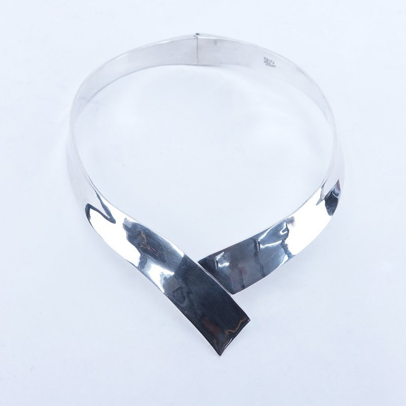 Vintage Mexican Sterling Silver Modernist Hinged Choker