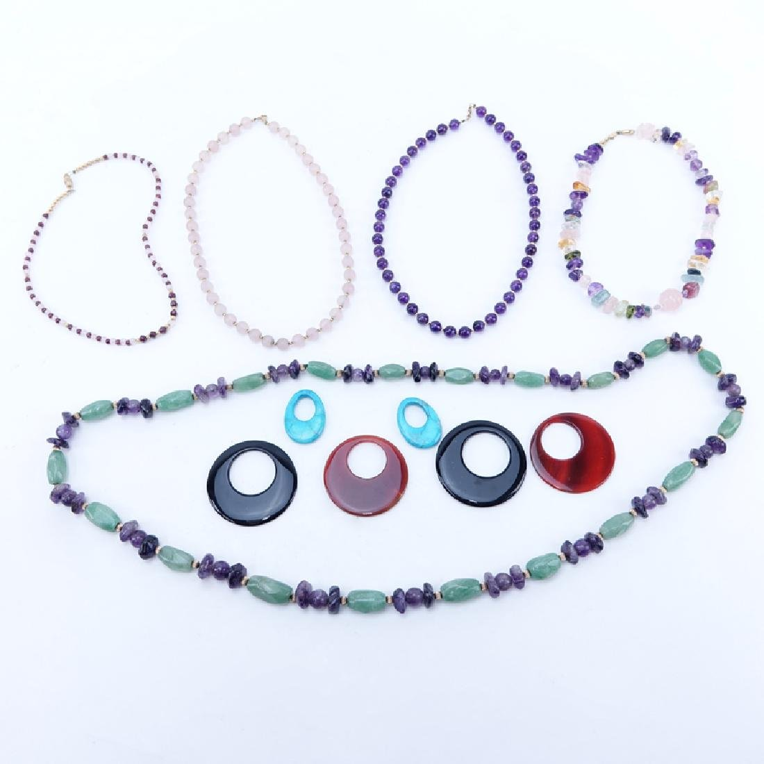 Lot of Eight (8) Vintage Gemstone Necklaces and