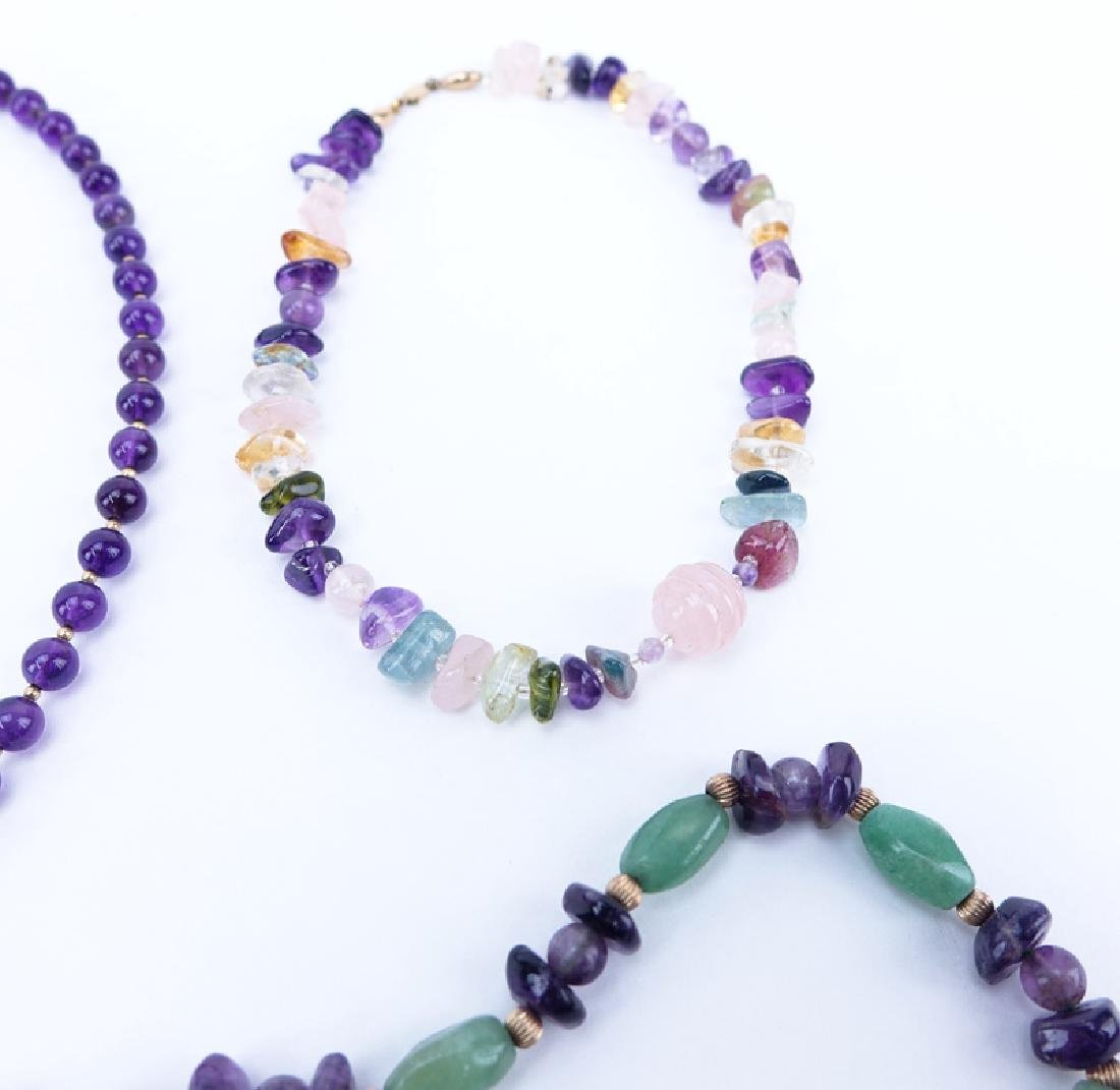 Lot of Eight (8) Vintage Gemstone Necklaces and - 2