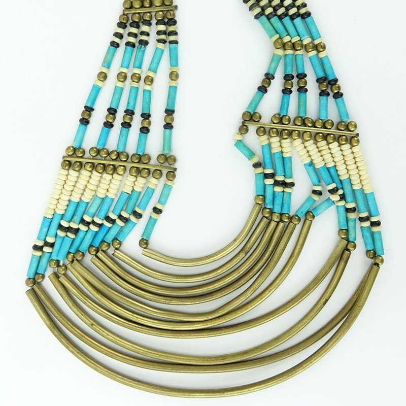 African Multi Strand Brass and Beaded Tribal Necklace.